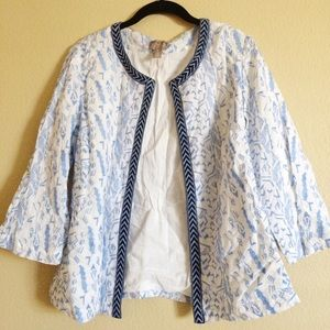 Chico's White Blue Embroidered Open Jacket